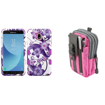 TUFF Hybrid Series [Military Grade] Protective Case (Purple Hibiscus) with Pink Gray Tactical EDC MOLLE Waist Bag Holder Pouch and Atom Cloth for Samsung Galaxy J7 Refine 2018 (J737P) (Pink Hibiscus)