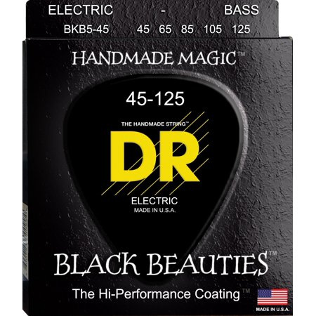 (Bass Strings, Black Beauties BASS Black Coated Nickel Plated Bass Guitar Strings on Round Core, Gauge: Medium (5-String) By DR Strings from USA)