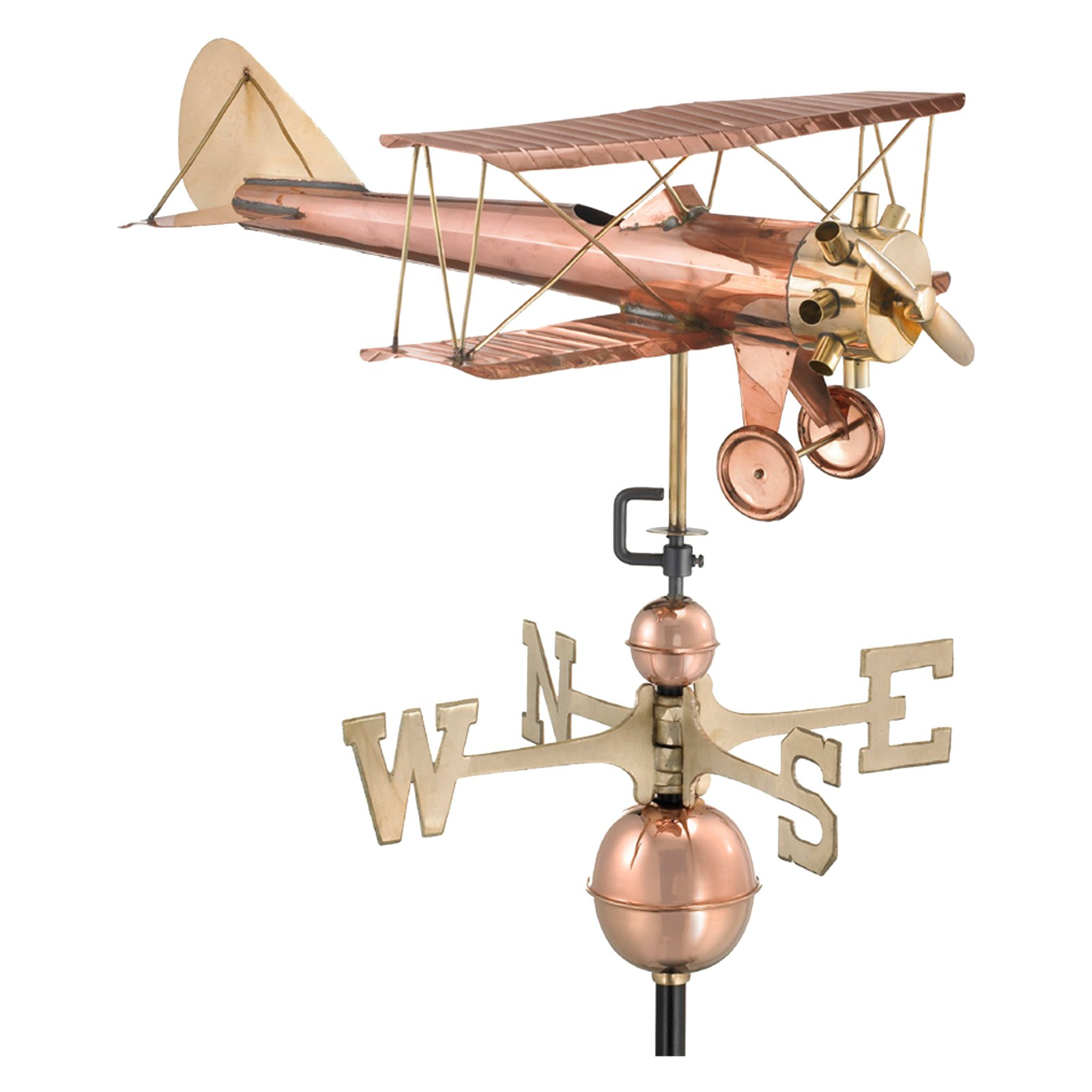Good Directions Biplane Weathervane, Polished Copper by Good Directions