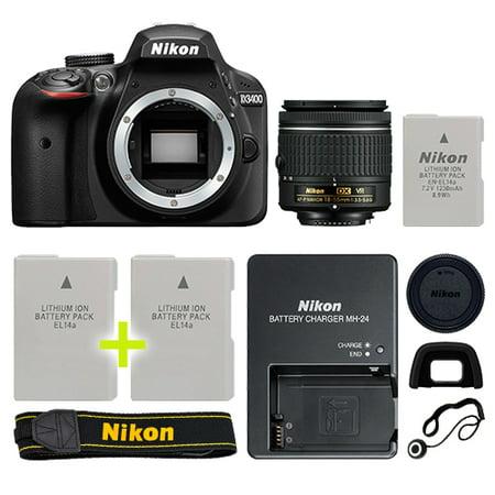 Nikon D3400 Digital SLR Camera with 18-55mm NIKKOR VR Lens + Backup Power Kit Digital Camera Power Kit