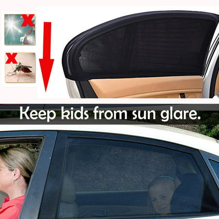 iClover 2 Pieces Car Window Shade for Baby Kids Car Sun Shade for Side Window,Breathable Stretchy Mesh Car Rear Front Window Sunshade Heat Shield Mosquito Blocker (39.4