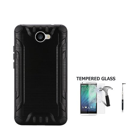 Phone Case For AT&T Huawei Ascend XT2 Prepaid Smartphone, Cricket Huawei Elate Metallic Brush Finish Cover Case + Tempered Glass Screen Protector + Black Stylus Pen (Black)](huawei ascend p6 price)