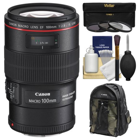 Canon EF 100mm f/2.8 L IS Macro USM Lens with Canon Backpack + 3 Filters Kit for EOS 6D, 70D, 7D, 5DS, 5D Mark II III, Rebel T5, T5i, T6i, T6s
