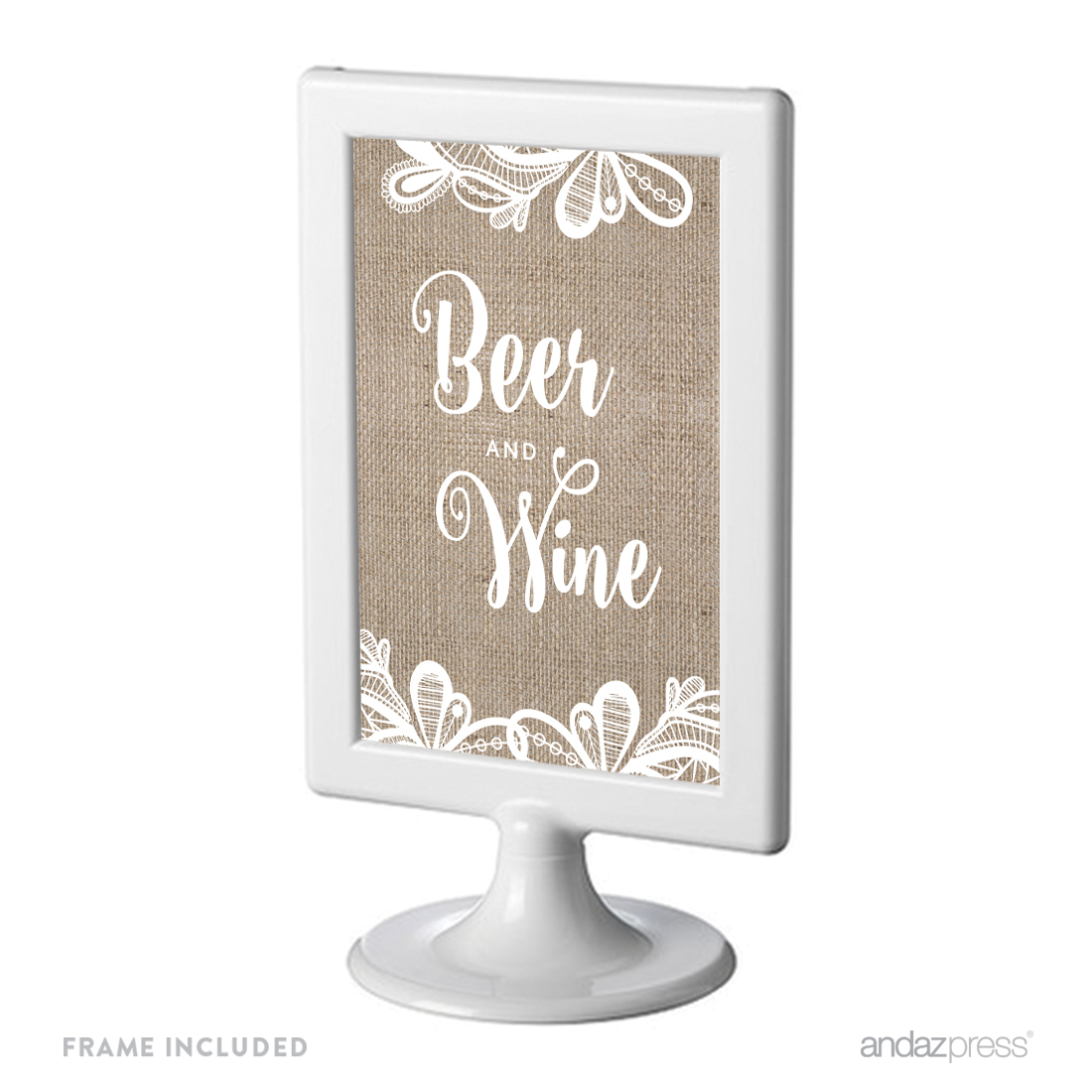 Beer & Wine Burlap Lace Wedding Framed Party Signs