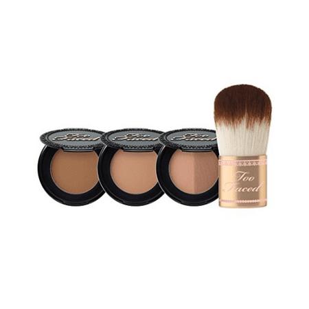 Too Faced Passport To Bronze Featuring Chocolate Soleil, Milk Cocolate Soleil, Sun Bunny & Teddy Bear Flatbuki Brush for $<!---->