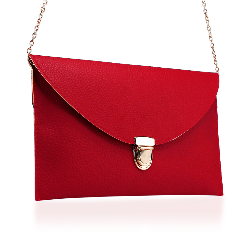 Fashion Women Handbag Shoulder Bags Envelope Clutch Crossbody Satchel Purse Leather Lady Messenger Hobo Bag - Red