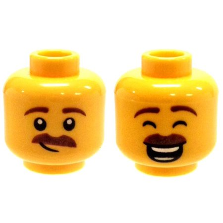 Dixie Closed Head - LEGO Brown Moustache, Large Smile with Eyes Closed / Smirk Minifigure Head [Dual-Sided Print] [No Packaging]