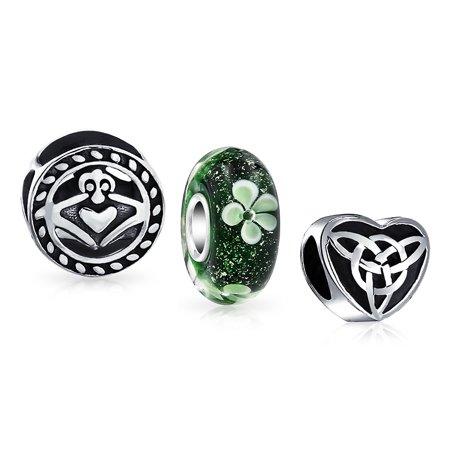 Green Claddagh Charm - Celtic Shamrock Irish Knot Claddagh Lucky Clover Mix Set Of 3 Silver Spacer Bead Fits European Charm Bracelet For Women