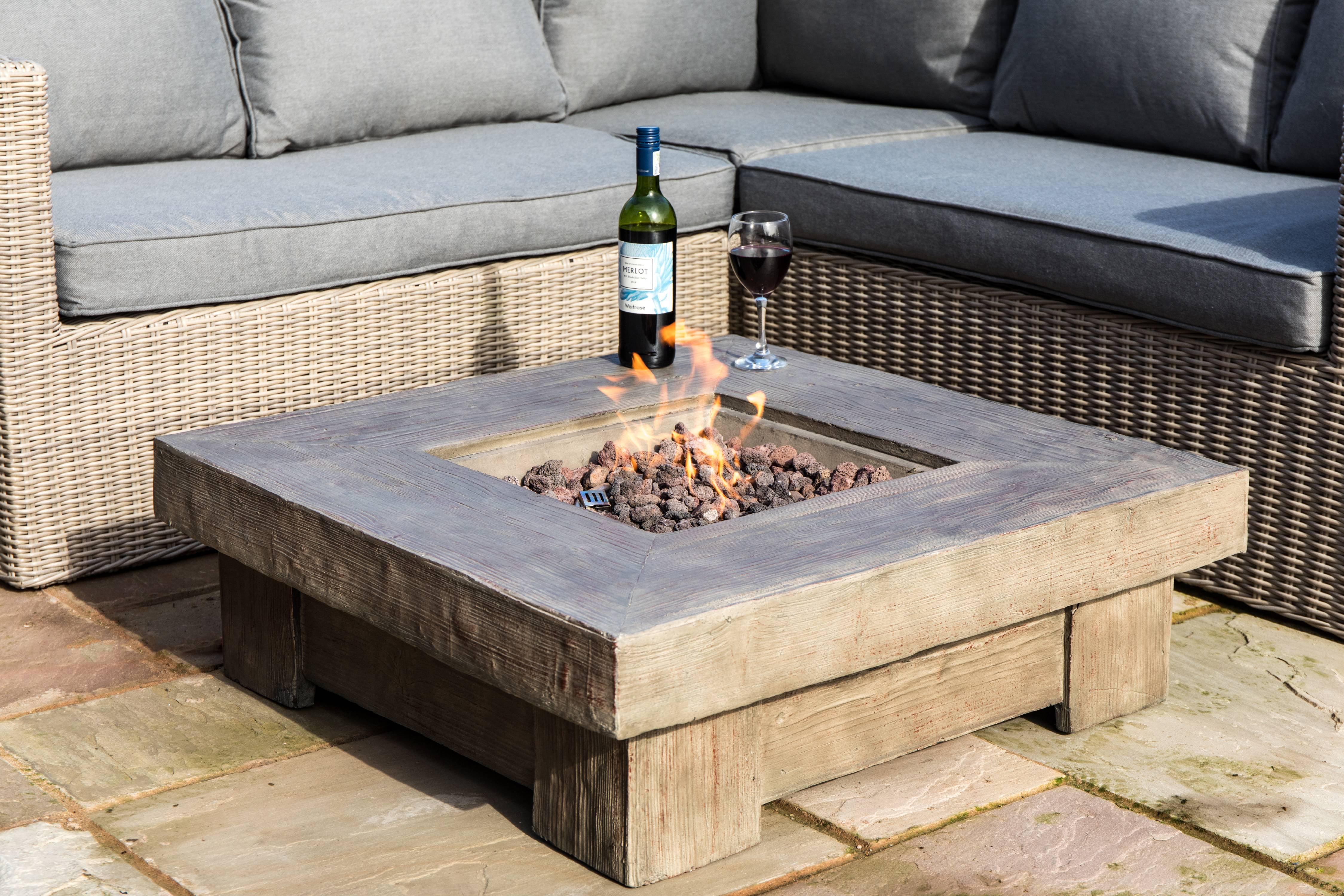 Peaktop - Outdoor Retro Wood Look Square Propane Gas Fire ...