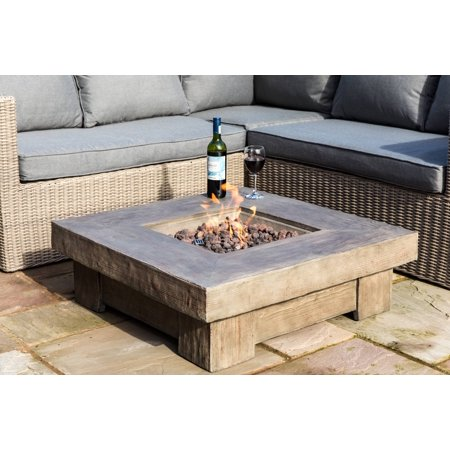 Peaktop - Outdoor Retro Wood Look Square Propane Gas Fire Pit ()
