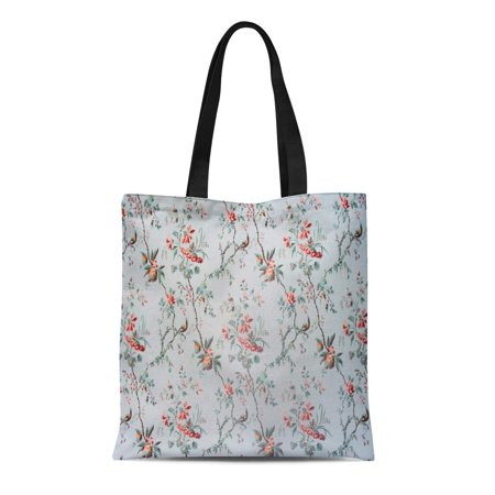 18th Century Pattern (ASHLEIGH Canvas Tote Bag Gray Ancient Vintage Floral Pattern of 18Th Century Pink Durable Reusable Shopping Shoulder Grocery Bag )