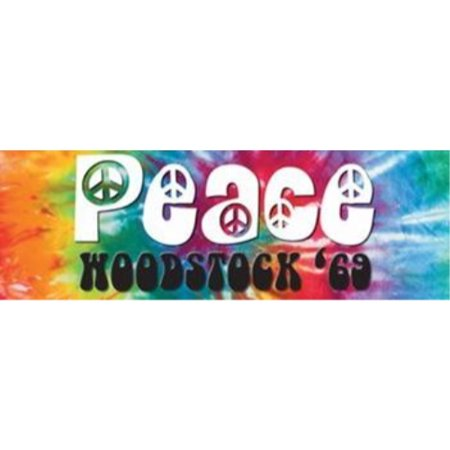 Woodstock - Peace 69 Decorative Sign 36x12 Art Print Poster   Festival Tie Dye Bright