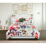 Chic Home Philena 7 Piece Reversible Comforter Set Floral Design - Sheet Set Pillows Sham Included