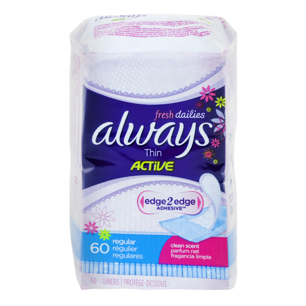 Always Active Thin Liners Regular Clean Scent - 60 CT
