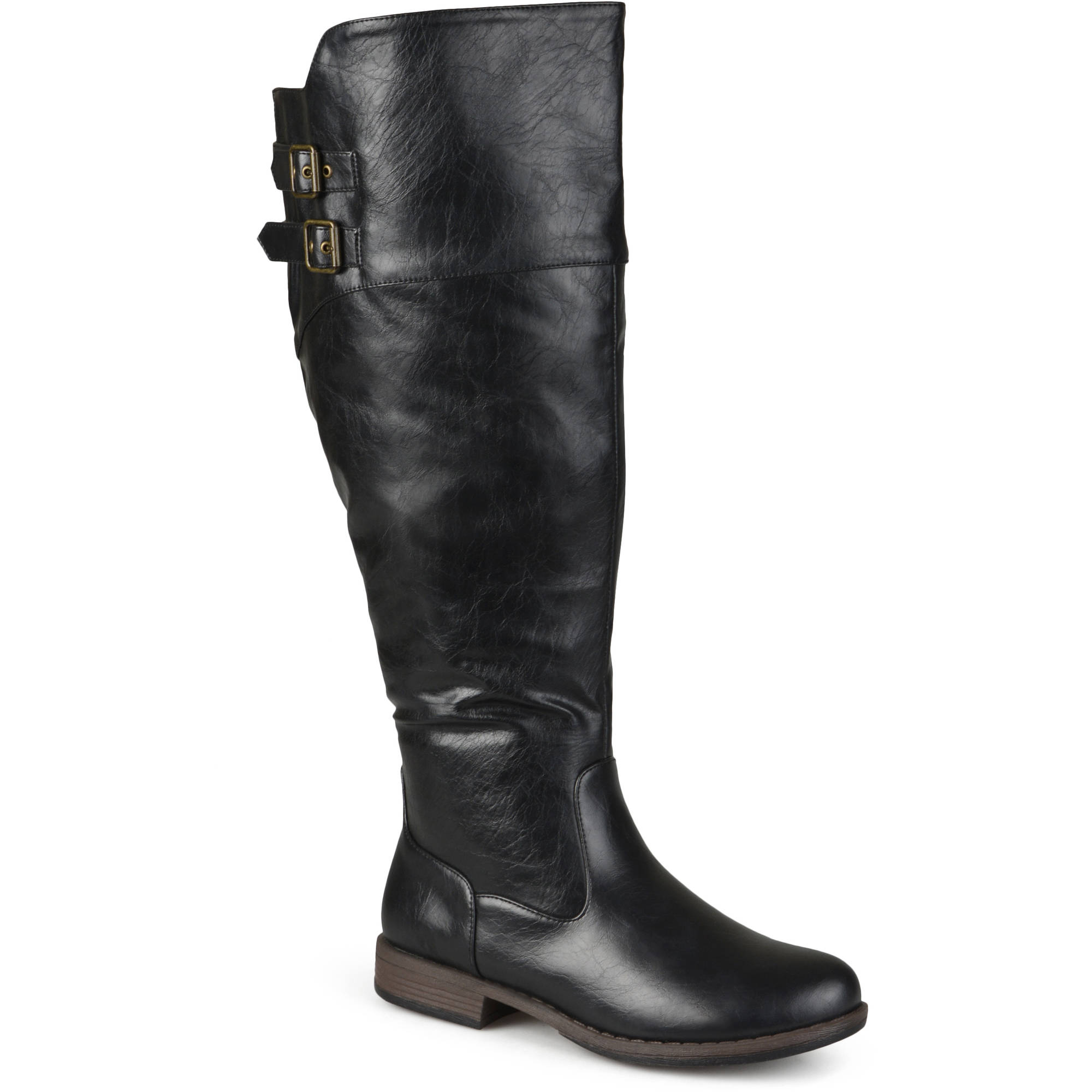 Brinley Co. Womens Extra Wide Calf Double-Buckle Knee-High Riding ...