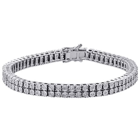 White Diamond Bracelet Mens 2 Row Tennis Link Design Sterling Silver 0 38 Ct