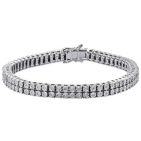 White Diamond Bracelet Mens 2 Row Tennis Link Design Sterling Silver 0.38 ct. Sterling Diamond Mens Bracelets