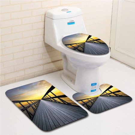 GOHAO Art Long Wood Pier Deck by Sea Disappearing into Sunset Nature Scenery in Twi 3 Piece Bathroom Rugs Set Bath Rug Contour Mat and Toilet Lid (Disappearing Deck)