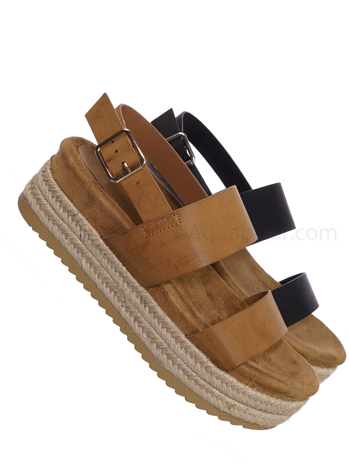 Riri26 by Bamboo, Retro Espadrilles Platform Wedge Flatform - Footbed Molded Casual Sandals
