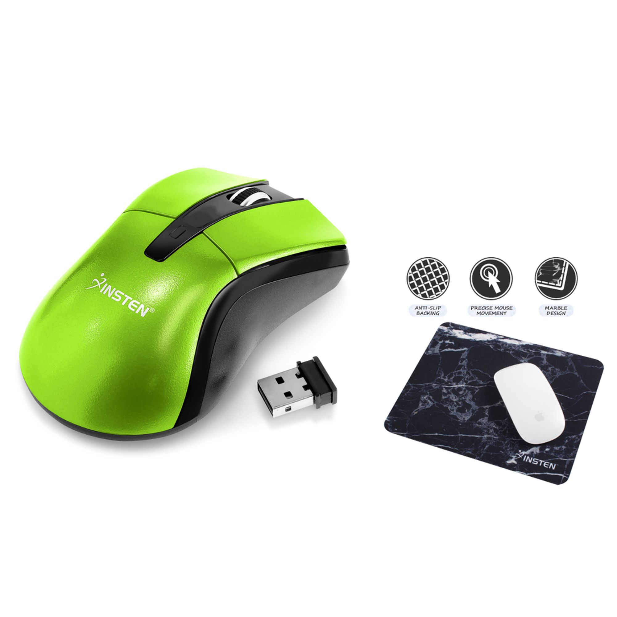 Insten Green Ver 2 2.4G Cordless Wireless Optical Mouse + Black Marble Mouse Pad