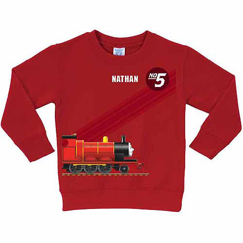 Personalized Thomas and Friends James No. 5 Toddler Boy Red Pullover Sweatshirt