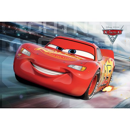 Cars 3 - Pixar / Disney Movie Poster / Print (Lightning McQueen - Race) (Size: 36
