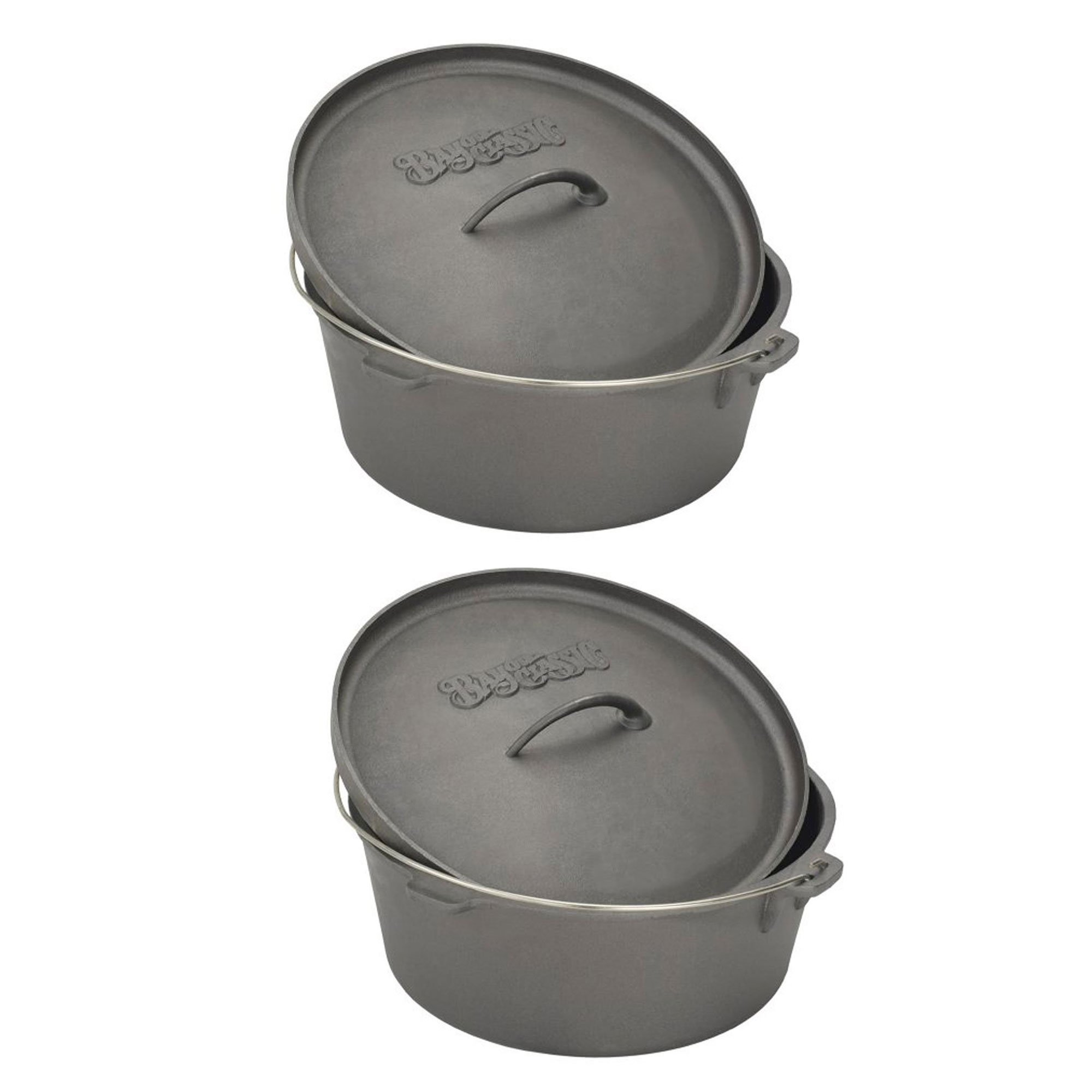 Bayou Classic 4 Quart Seasoned Cast Iron Cooker Dutch Oven w/ Basket (2 Pack)