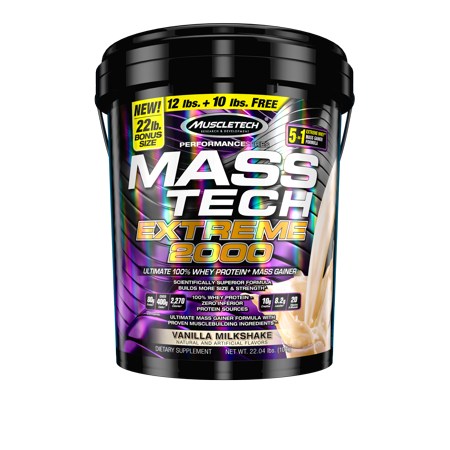 Mass Tech Extreme Mass Gainer Whey Protein Powder, Build Muscle Size & Strength with High-Density Clean Calories, Vanilla Milkshake, 22lbs