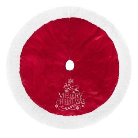 Holiday Time Velvet Tree Skirt, Plush Border, Red, 48""