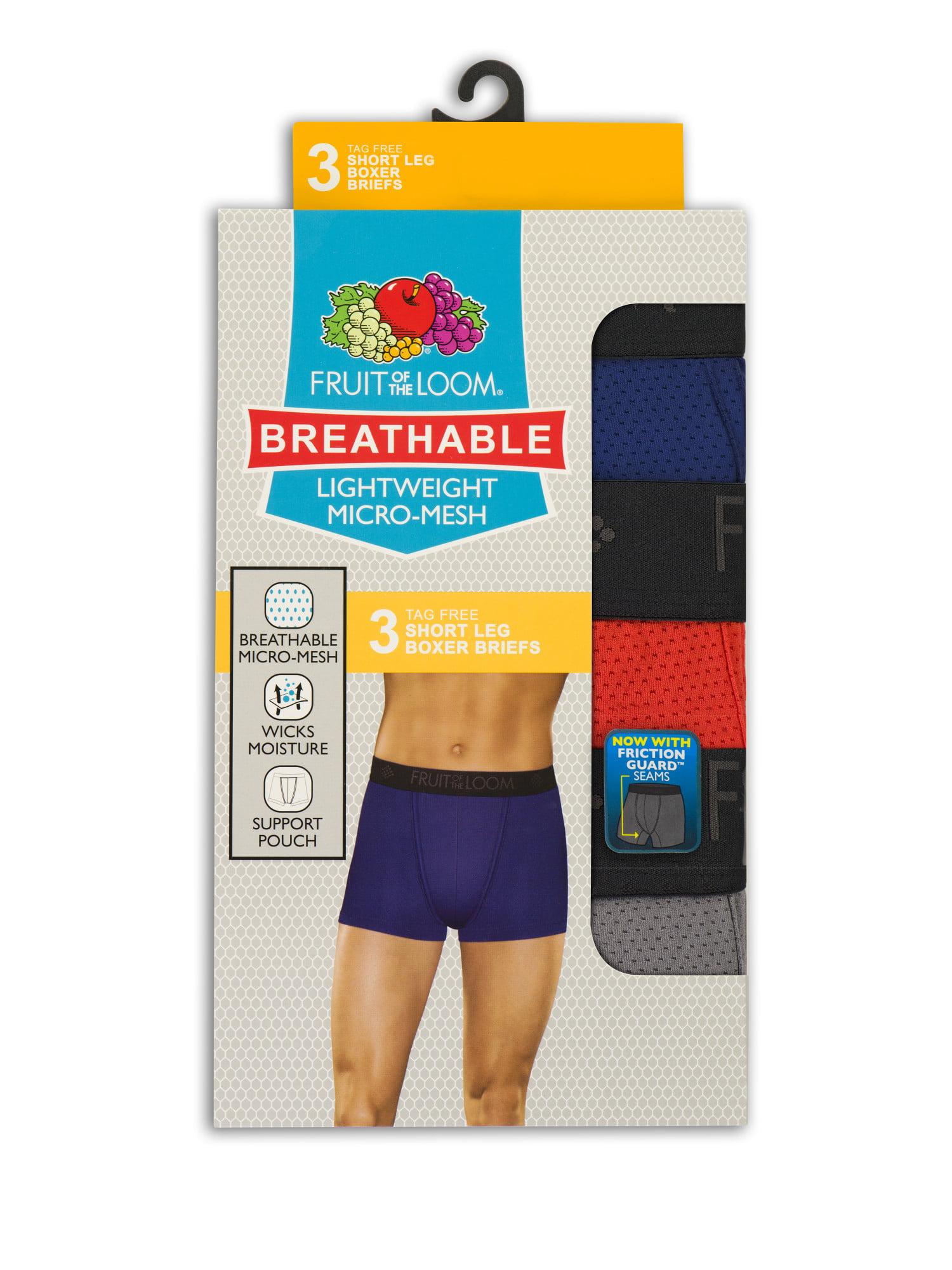 a4fc013d330f Fruit of the Loom - Men's Breathable Lightweight Micro-Mesh Short Leg Boxer  Briefs, 3 Pack - Walmart.com