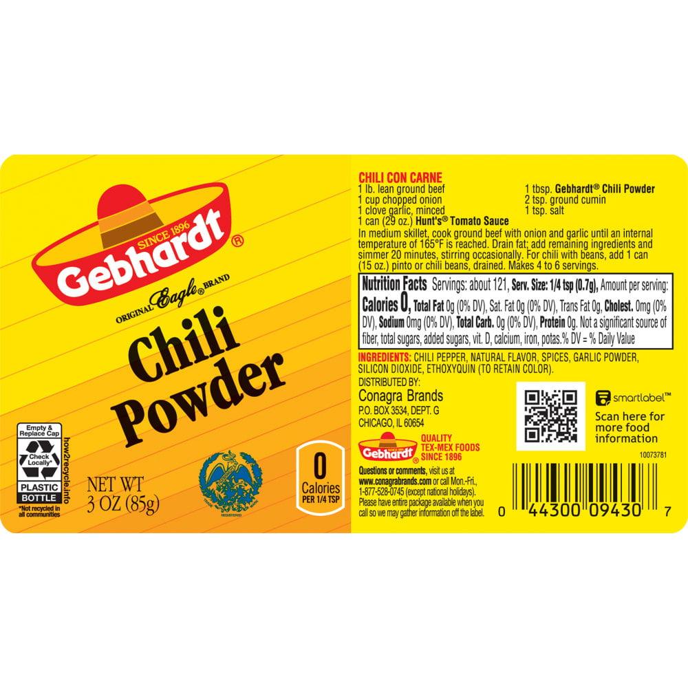 4 Pack Gebhardt Chili Powder 3 Ounces Walmart Com Walmart Com