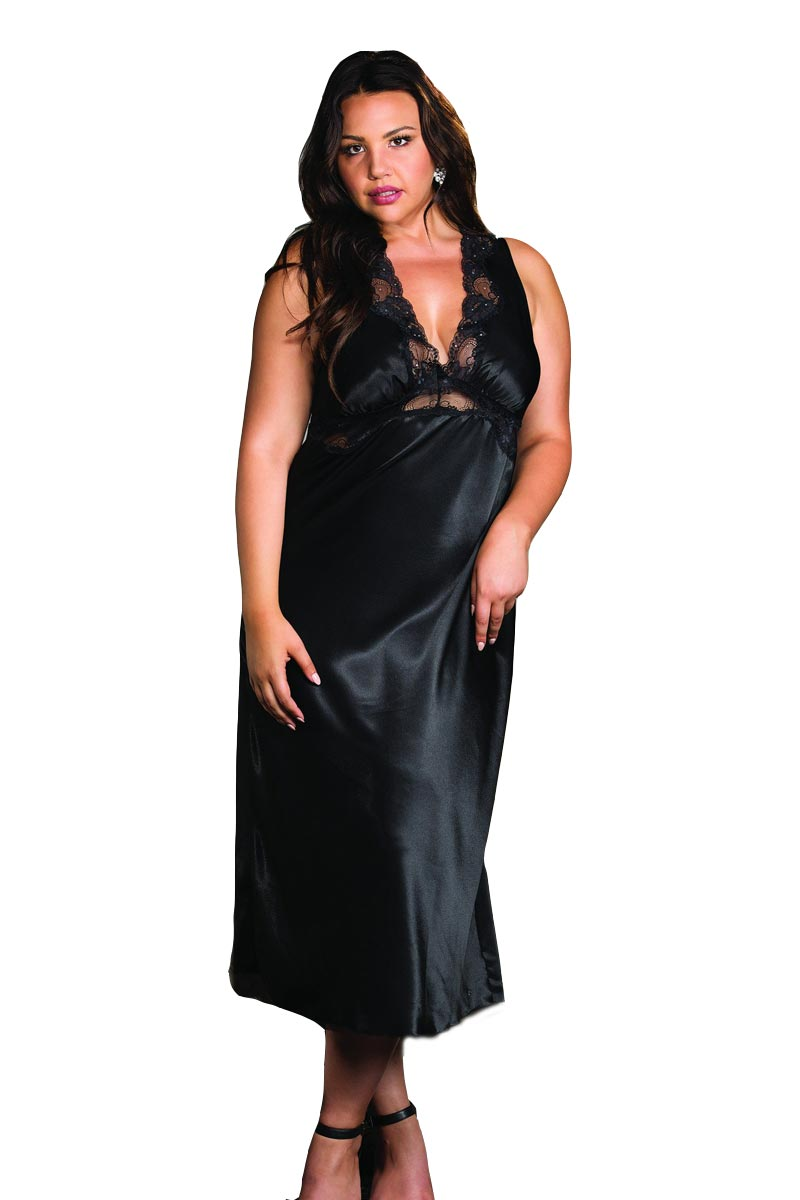 Elegant Plus Size Classy Ballerina Open Back Long Gown Lingerie