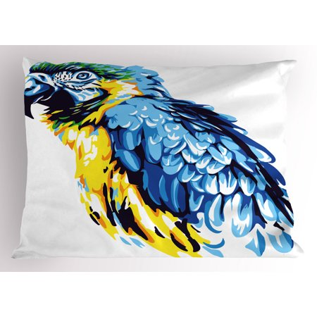 Lr Sham - Animal Pillow Sham Painting Style Parrot Profile Exotic Creature Tropical Nature Theme, Decorative Standard Queen Size Printed Pillowcase, 30 X 20 Inches, Navy Blue Pale Blue Yellow, by Ambesonne
