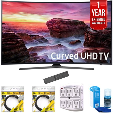 Samsung 49   Curved 4K Ultra Hd Smart Led Tv 2017 Model Un49mu6500fxza With 2X 6Ft High Speed Hdmi Cable  Stanley 6 Outlet Surge Adapter  Screen Cleaner For Led Tvs   1 Year Extended Warranty