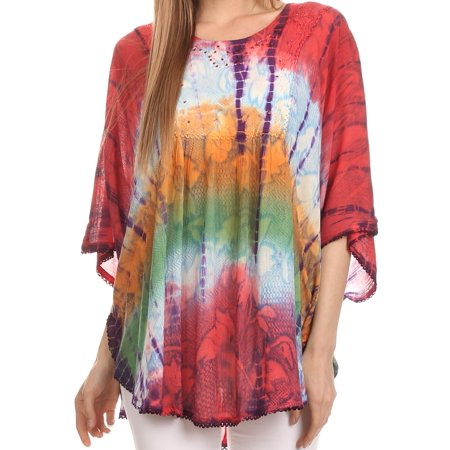 Sakkas Ellesa Ombre Tie Dye Circle Poncho Blouse Shirt Top With Sequin Embroidery - Coral / Blue - One Size Regular](Tie Dye Cupcakes)