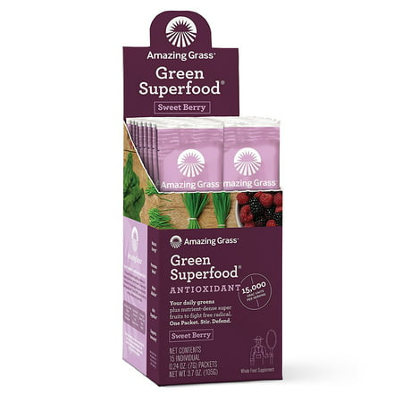 Amazing Grass Antioxidant Green Superfood Powder, Sweet Berry, 15 (Green Antioxidant)
