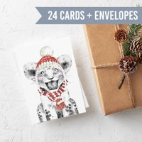 Baby Animal Blank Holiday Cards - 24 Folded Cards with Envelopes   Kid's Christmas Cards for Friends and Teachers   Made in USA