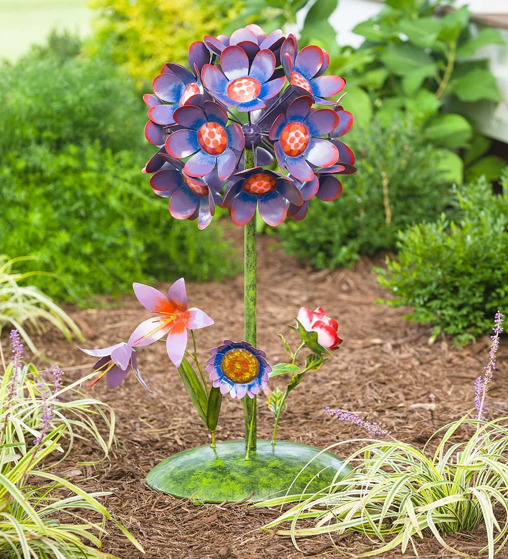 Handmade Painted Metal Flower Bouquet Garden Stake