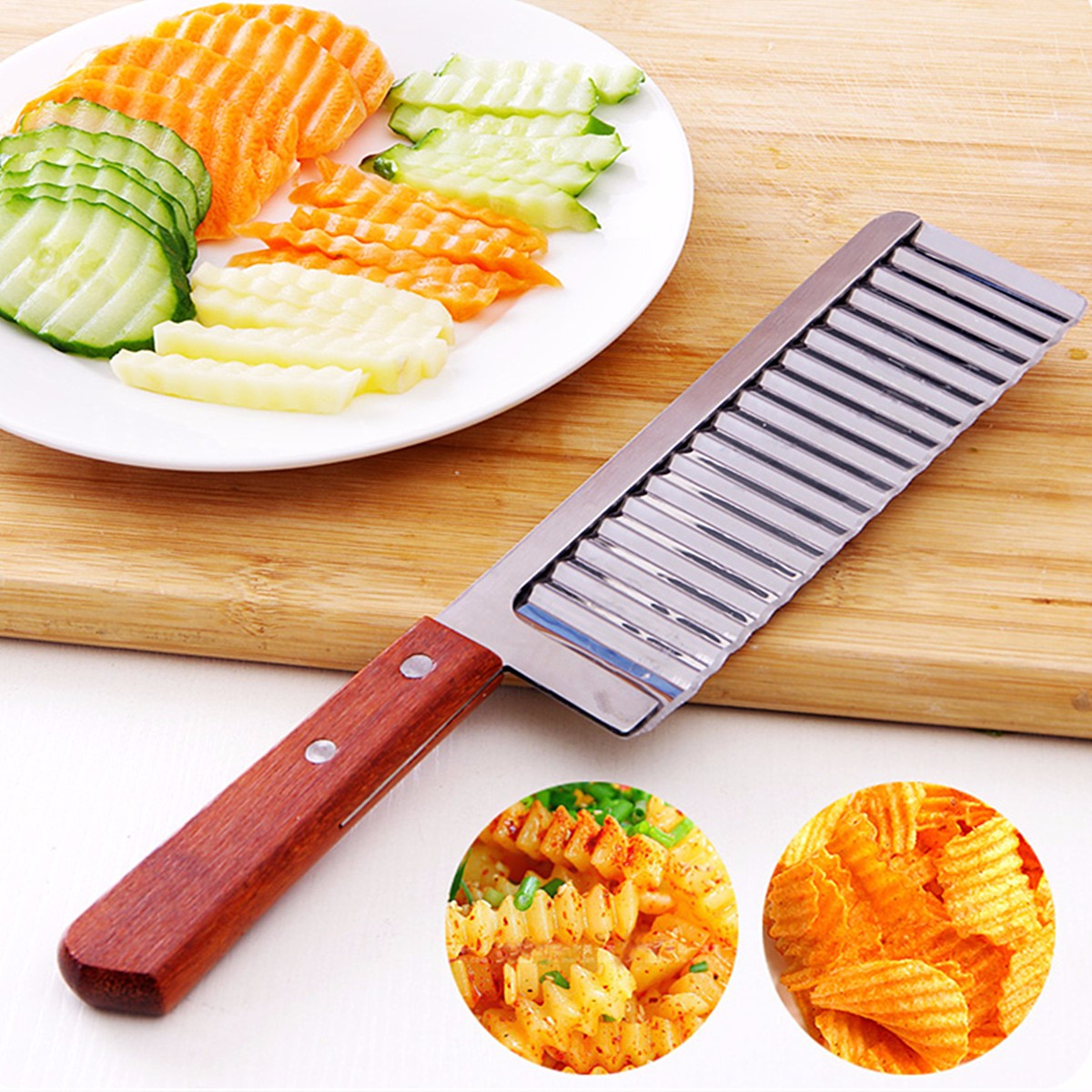 26.5cm/10.43'' Stainless Steel Crinkle Cut Knife Potato Chip Cutter With Wavy Blade Slicer