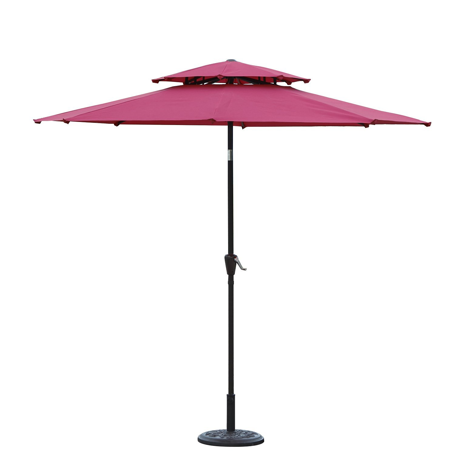 Joveco 9ft Patio Market Aluminum Umbrella, 8 Ribs, 2 Layers, Polyester (No Base Included) (Wine Red) by