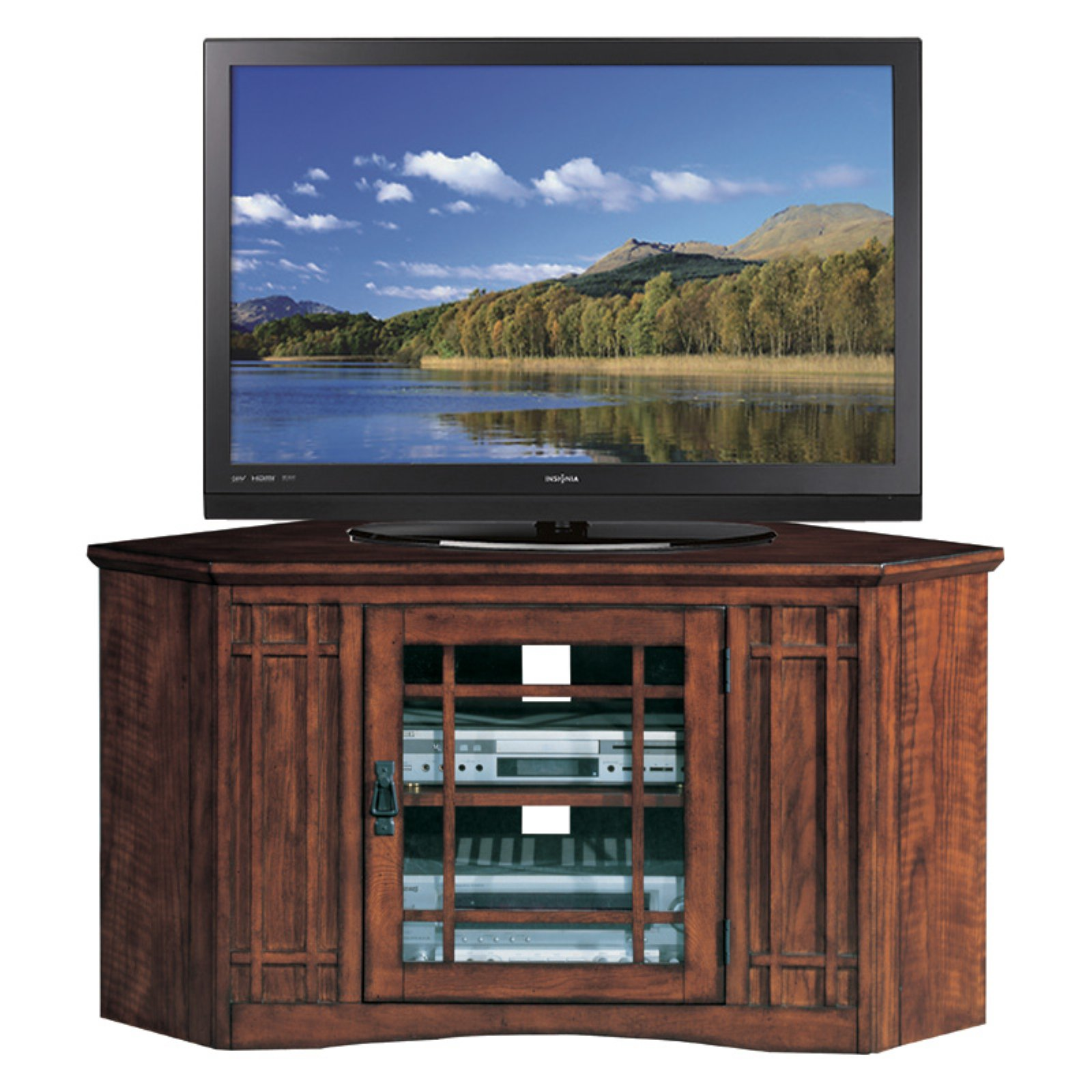 """Leick Home Riley Holliday 46"""" Corner TV Stand for TV's up to 50"""", Mission Oak"""
