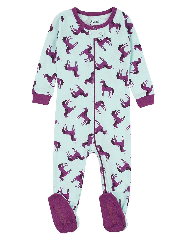 Leveret Kids Pajamas Baby Boys Girls Footed Pajamas Sleeper 100% Cotton (Unicorn Purple, Size 18-24 Months)