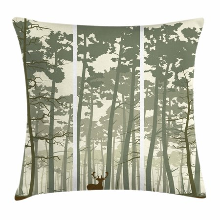 Forest Throw Pillow Cushion Cover, Vertical Stripes with Tall Trees and Lonely Deer Nature Illustration, Decorative Square Accent Pillow Case, 16 X 16 Inches, Sage Green Cream Brown, by Ambesonne