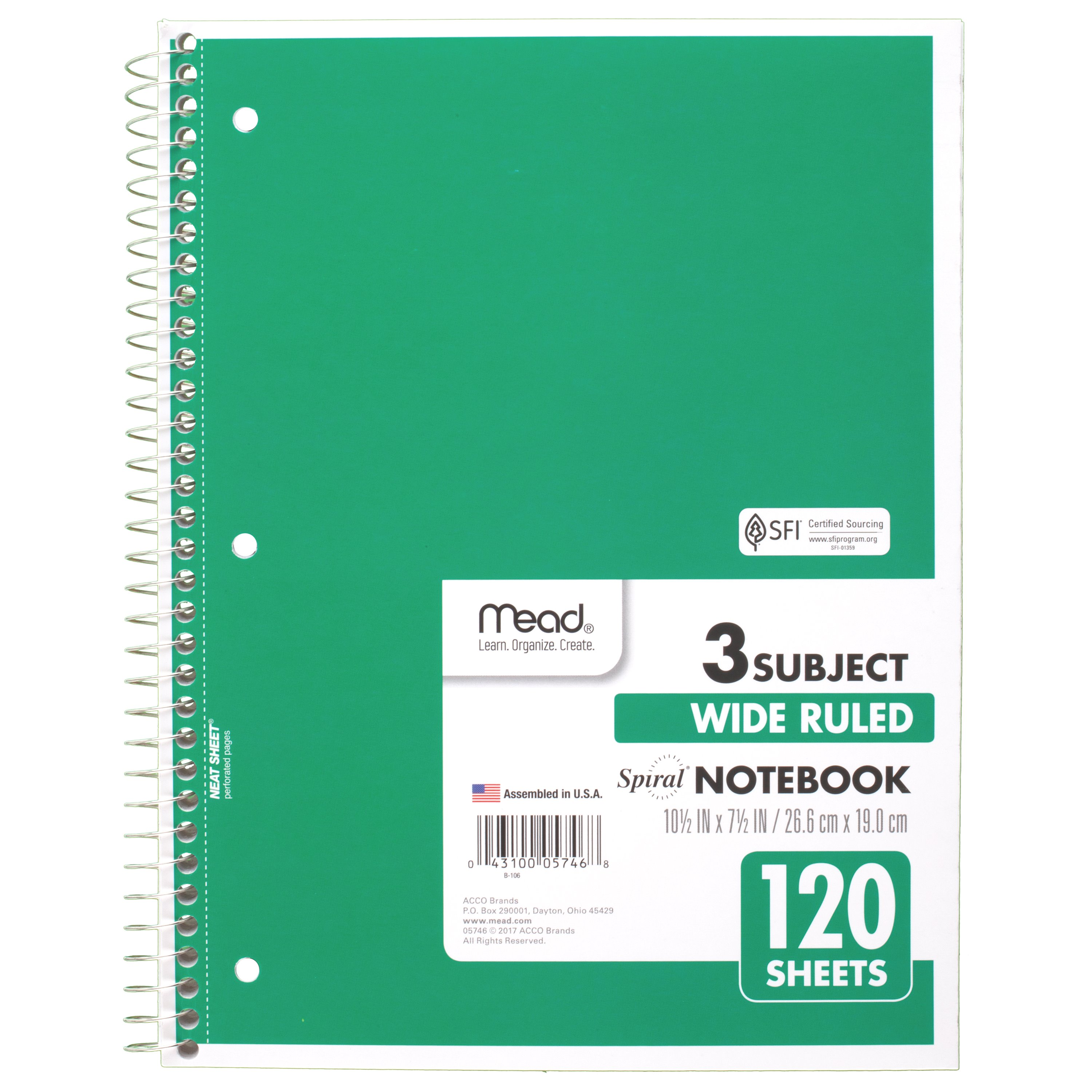 "Mead Spiral Notebook, 3 Subject, College Ruled, 11"" x 8 1/2"", Green (72221)"