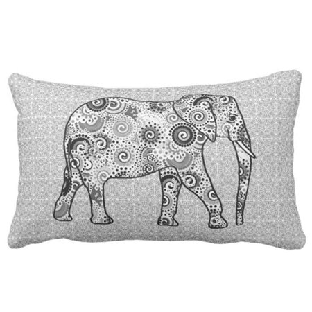 BPBOP Fractal Swirl Elephant Grey Black and White Pillowcase Throw Pillow Cover 20x30 inches](Black And White Swirl)