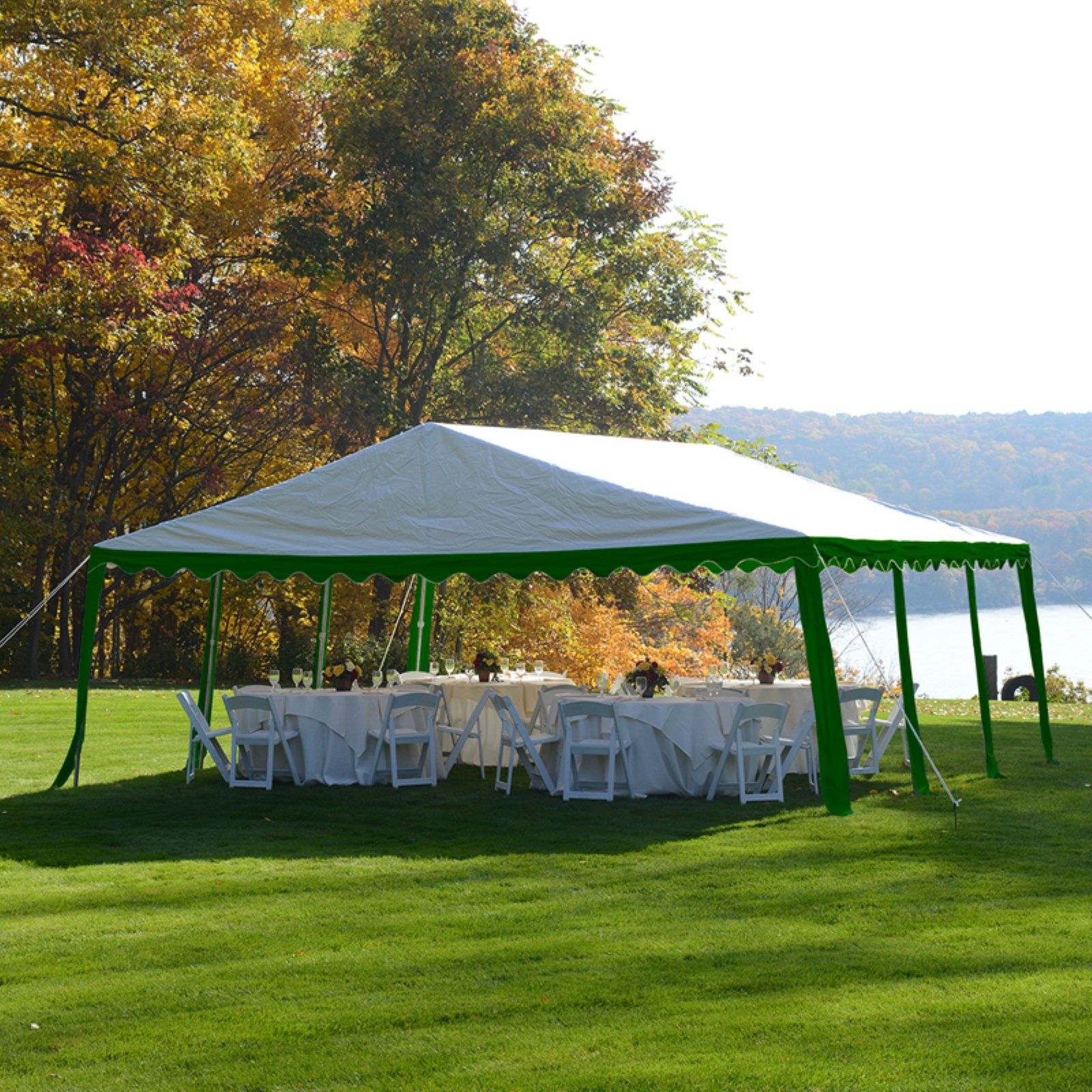 Party Tent, 20' x 20' 6m x 6m, Green White by ShelterLogic