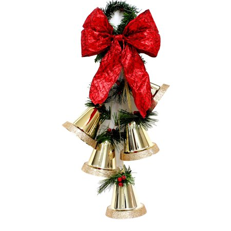 holiday time christmas decor 145 5pk bells red indoor outdoor use - Walmart Christmas Decorations Indoor