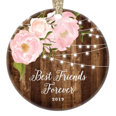 Rustic Friend Gifts for Her, Best Friends Forever Christmas Ornament 2019 Women Family Soul Sister Pink Peonies Xmas Farmhouse Collectible 3