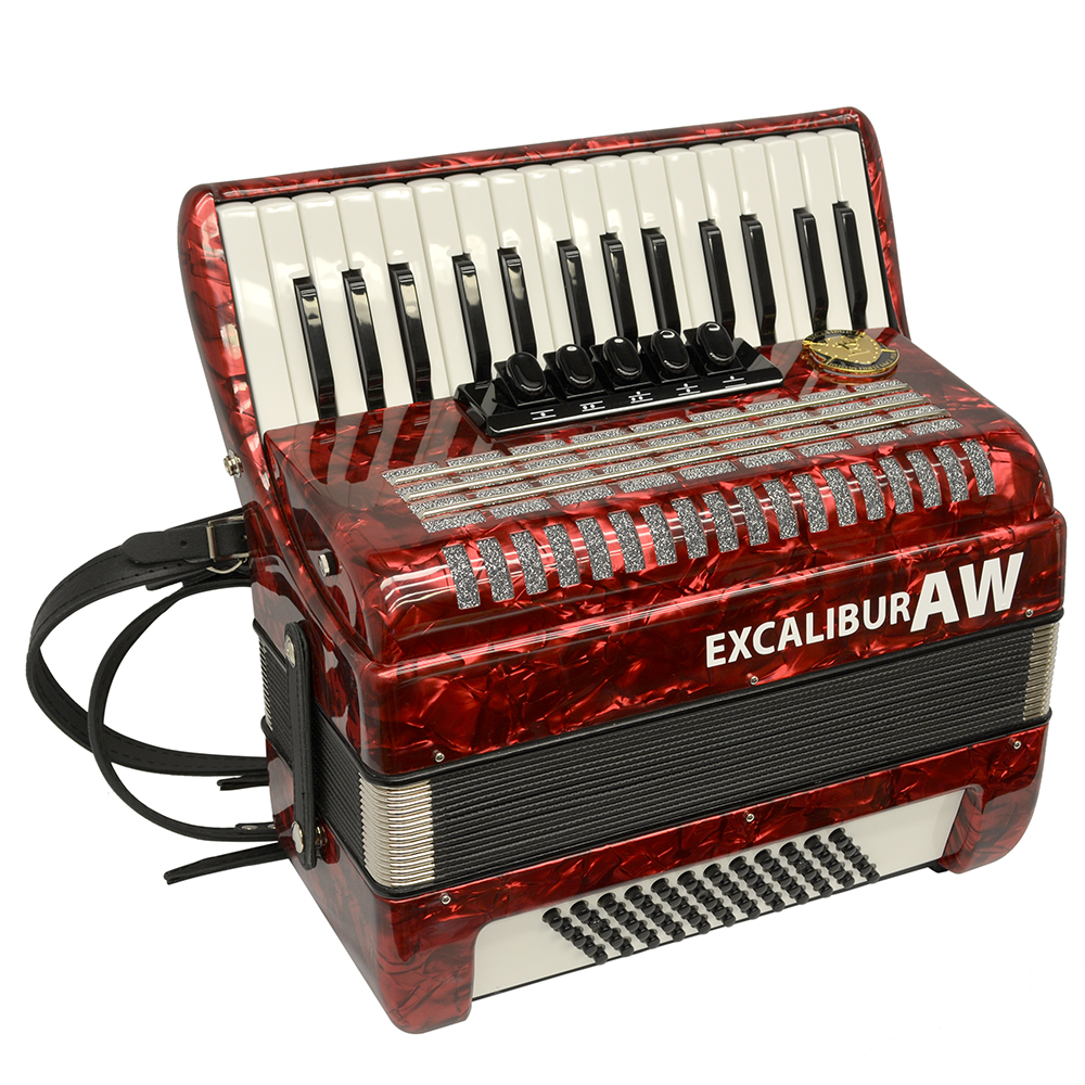 Excalibur Akordeon Werks (AW) 60 Bass Piano Accordian Pearl Red by