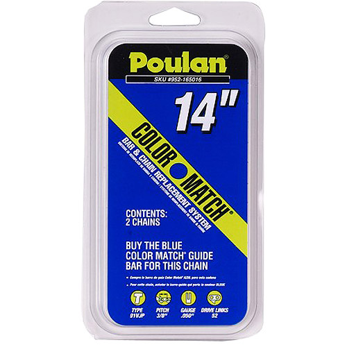 """Poulan 14"""" Low Profile Chainsaw Chain, 3/8"""" Pitch - 2 pack"""